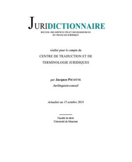 Juridictionnaire, Recueil des difficultés et des ressources du français juridique