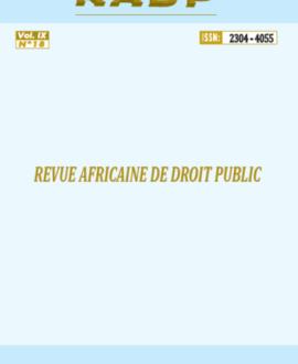 Revue africaine de droit public volume IX N°18