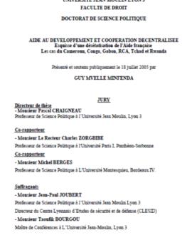 Aide au développement et coopération décentralisée : Esquisse d'une désétatisation de l'aide française. Les cas du Cameroun, Congo, Gabon, RCA, Tchad et Rwanda