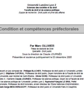 Condition et compétences préfectorales
