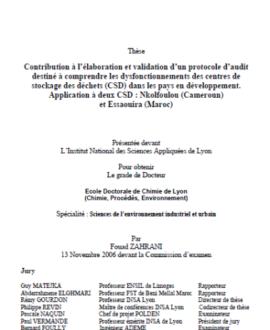 Contribution à l'élaboration et validation d'un protocole d'audit destiné à comprendre des dysfonctionnements des centres de stockage des déchets (CSD) dans les pays en développement. Application à deux CSD : Nkolfoulou (Cameroun) et Essaouira (Maroc)