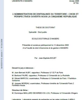 L'administration décentralisée du territoire : Choix et perspectives ouverts sous la 5ème République
