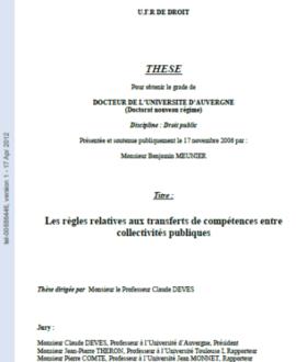 Les règles relatives aux transferts de compétences entre collectivités publiques