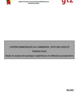 L'intercommunalité au Cameroun : Etat des lieux et perspectives. Etude et analyse de quelques expériences et réflexions prospectives