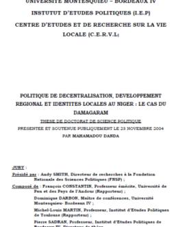 Politique de décentralisation, développement régional et identités locales au Niger : Le cas du Damagaram