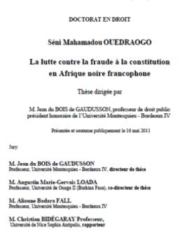 La lutte contre la fraude à la constitution en Afrique noire francophone