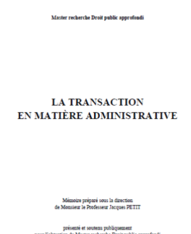 La transaction en matière administrative