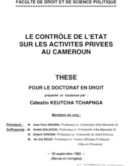 Le contrôle de l'Etat sur les activités privées au Cameroun