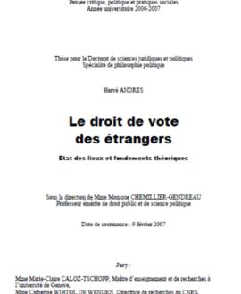 Le droit de vote des étrangers : Etat des lieux et fondements théoriques
