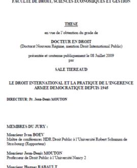 Le droit international et la pratique de l'ingérence armée démocratique depuis 1945