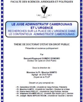 Le juge administratif camerounais et l'urgence : Recherches sur la place de l'urgence dans le contentieux administratif camerounais