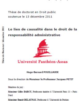Le lien de causalité dans le droit de la responsabilité administrative