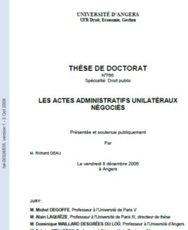 Les actes administratifs unilatéraux négociés