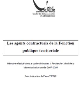 Les agents contractuels de la fonction publique territoriale