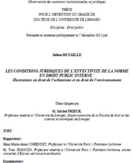 Les conditions juridiques de l'effectivité de la norme en droit public interne : Illustrations en droit de l'urbanisme et en droit de l'environnement