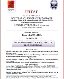 Les droits fondamentaux de l'enfant en droit camerounais