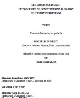 Les droits sociaux et processus de constitutionnalisation de l'Union Européenne