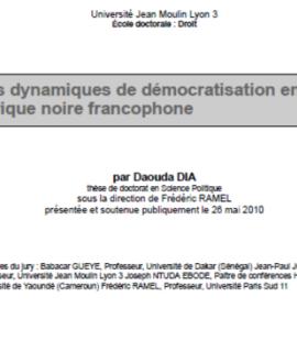 Les dynamiques de démocratisation en Afrique noire francophone