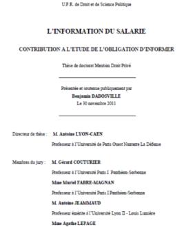 L'information du salaire : Contribution à l'étude de l'obligation d'informer