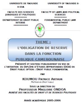 L'obligation de réserve dans la fonction publique camerounaise