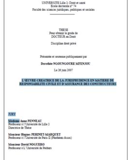 L'oeuvre créatrice de la jurisprudence en matière de responsabilité civile et d'assurance des constructeurs