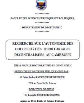 Recherche sur l'autonomie des collectivités territoriales décentralisées au Cameroun