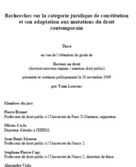Recherches sur la catégorie juridique de constitution et son adaptation aux mutations du droit contemporain