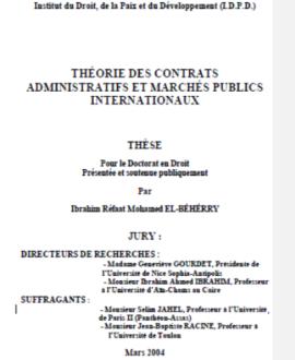 Théorie des contrats administratifs et marchés publics internationaux