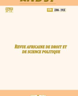 Revue africaine de droit et science politique Vol.VI