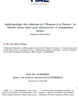 Anthropologie des relations de l'homme à la nature : La nature vécue entre peur destructrice et communion intime